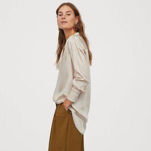 H&M Light Beige Long Sleeve Satin Blouse Medium